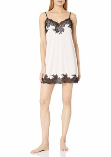 Natori Women's Enchant Slinky Chemise Blush Pink with Black Lace Extra Large