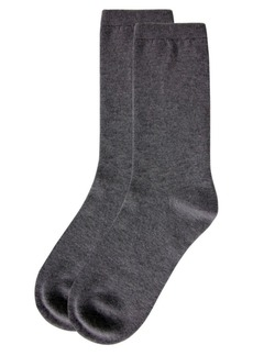 Natori Women's Solid Flat Knit Cashmere Blend Crew Socks