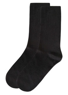 Natori Women's Solid Ribbed Knit Cashmere Blend Crew Socks