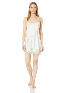 Natori Women's Solid Satin Chemise with Lace Warm White XL