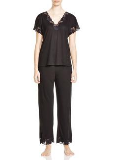 Natori Zen Floral Lace Trim Short Sleeve Pajama Set