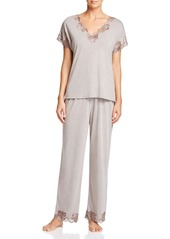 Natori Zen Floral Short Sleeve Pajama Set with Lace