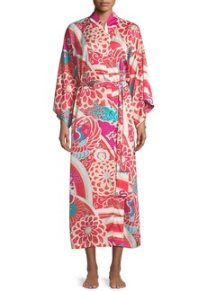 Natori Obi Crane Graphic Satin Robe