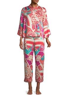 Natori Obi Crane Satin Pajama Set