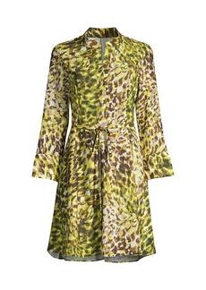 Natori Ombre Animal-Print Tie-Waist Dress