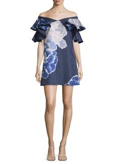 Natori Peony Jacquard Ruffle Dress