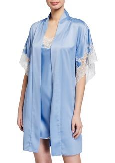 Natori Plume Lace-Trim Satin Short Robe