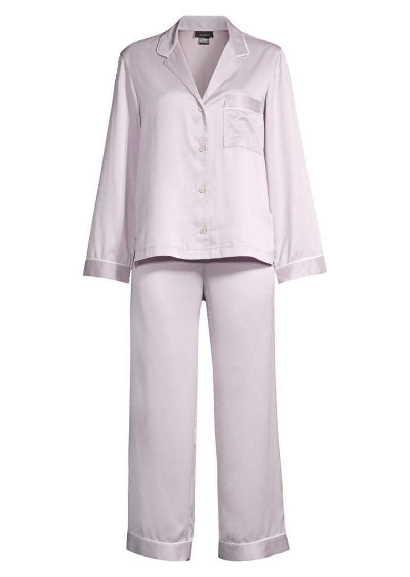 Purple Dove Feathers Two-Piece Satin Pajama Set
