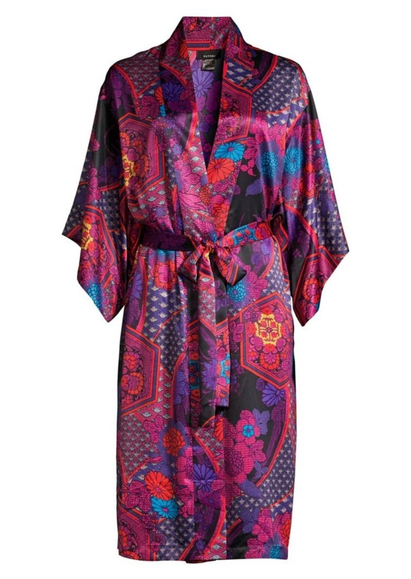 Natori Purple Empress Floral Print Wrap