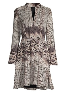 Natori Python Print Collarless Shirtdress