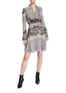 Natori Python-Print Long-Sleeve Shirtdress
