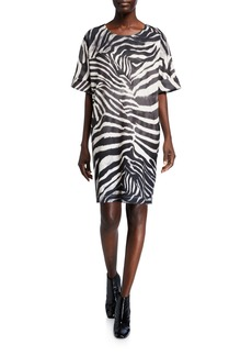 Natori Serengeti Zebra-Print Short-Sleeve T-Shirt Dress