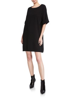 Natori Short-Sleeve Easy Crepe Shift Dress