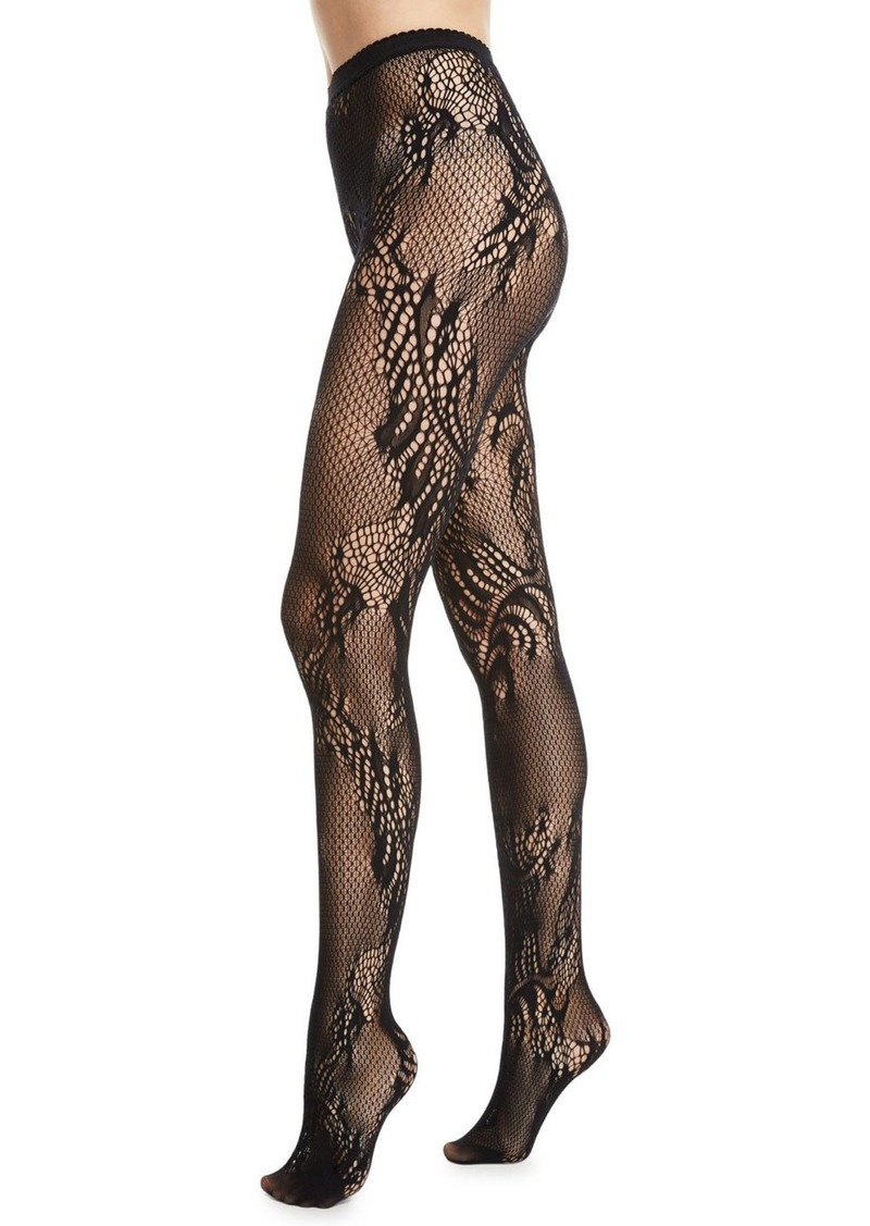 Natori Signature Sheer Feather Lace Net Tights