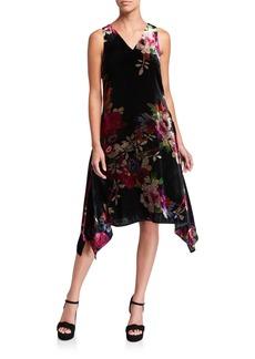 Natori Sleeveless Winter Peony Velvet Handkerchief Dress