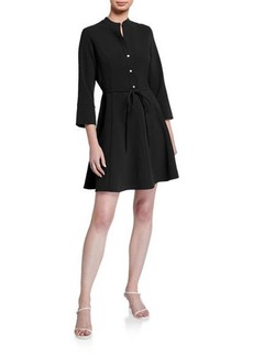 Natori Solid Crepe Fit-and-Flare Dress with Tie