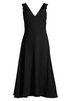 Natori Solid Knot-Strap Crepe Dress