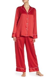 Natori Solid Long Sleeve Shirt & Pants 2-Piece Pajama Set