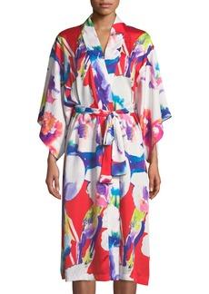 Natori Tahiti Floral-Print Long Robe