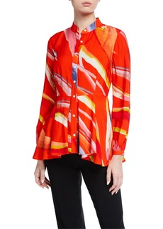 Natori Watercolor Stripe Printed Blouse