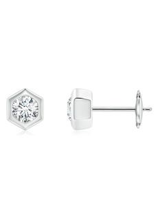 Women's Natori Fine Jewelry Hexagonal Small Diamond Stud Earrings