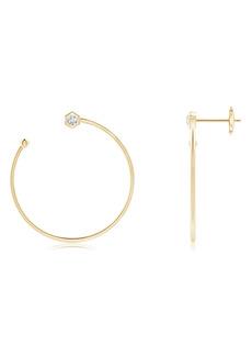 Women's Natori Fine Jewelry Small Side Facing Hexagonal Diamond Hoop Earrings