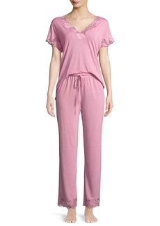 Natori Zen Floral-Trim Short-Sleeve Pajama Set
