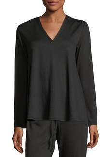 Natori Zen French Terry V-Neck Top