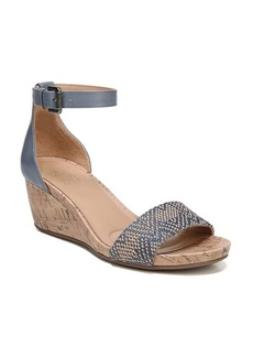 Naturalizer Cami Leather and Fabric Wedge Sandals