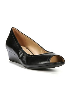 Naturalizer Contrast Leather Wedge Peep Toe Pumps