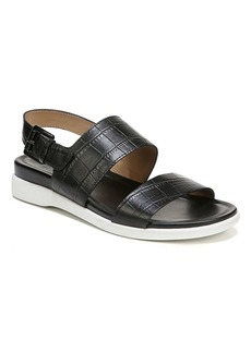 Naturalizer Emory Croco Embossed Leather Demi-Wedge Sandals