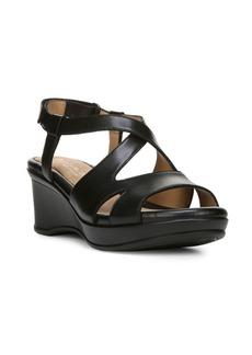 Naturalizer Villette Crisscross Leather Wedge Sandals