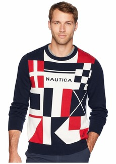 Nautica 9 Gauge Signal Flags Intarsia Sweater