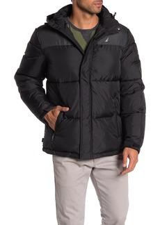 Nautica Water-Resistant Colorblock Logo Hooded Puffer Jacket