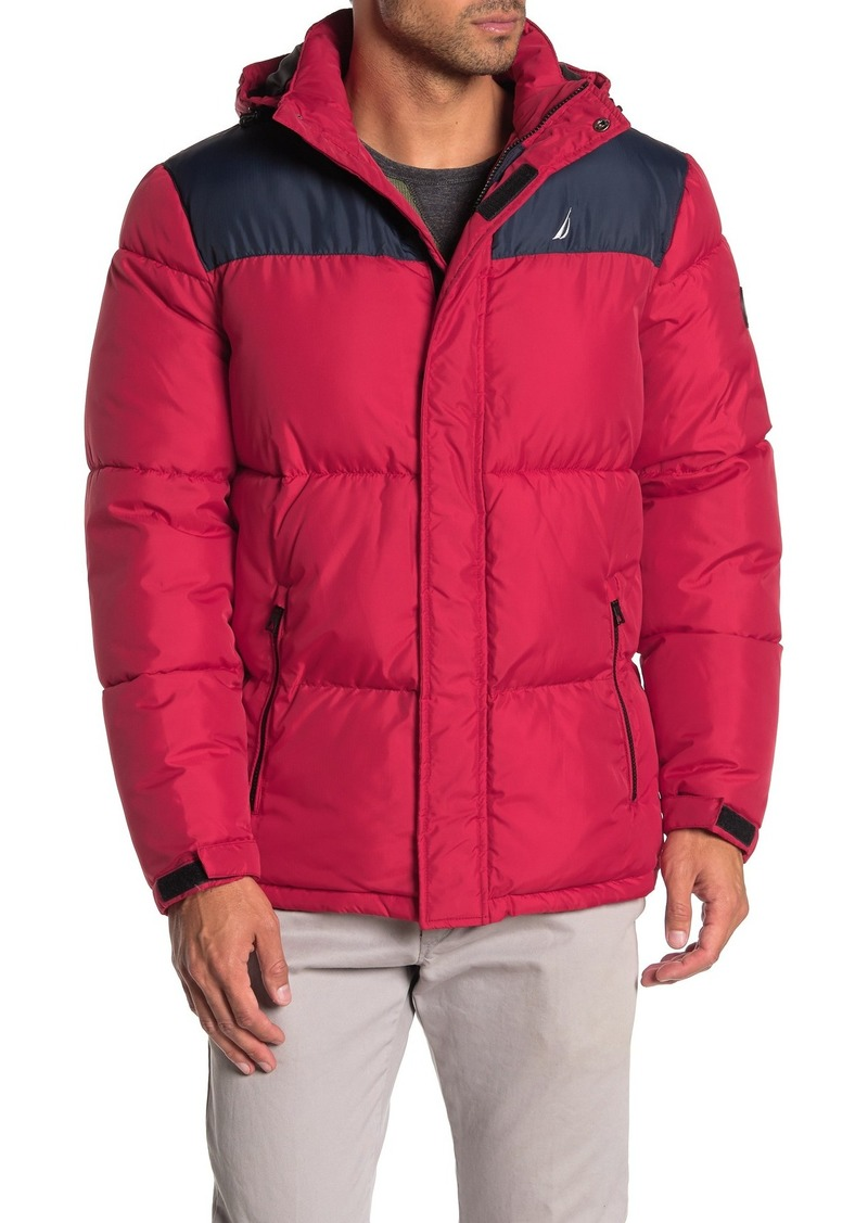 Nautica Water-Resistant Colorblock Logo Hooded Puffer Jacket