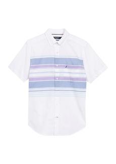 Nautica Engineered Stripe Print Short Sleeve Shirt