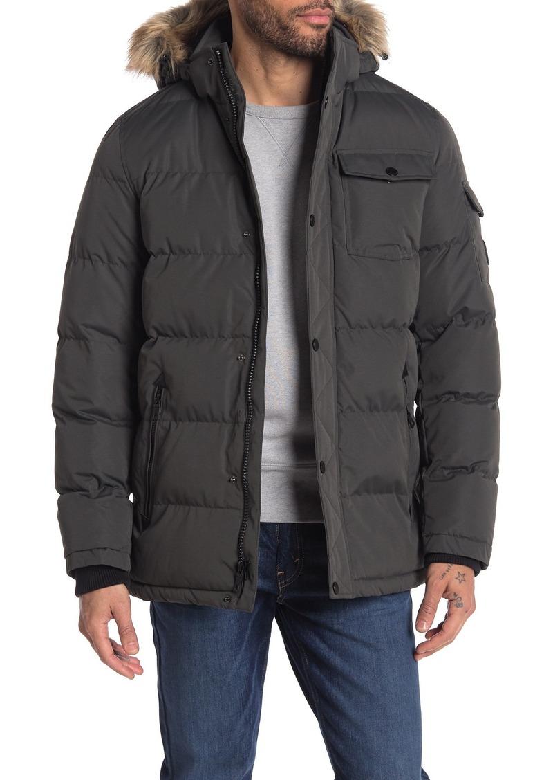 Nautica Faux Fur Trim Hooded Water-Resistant Puffer Jacket