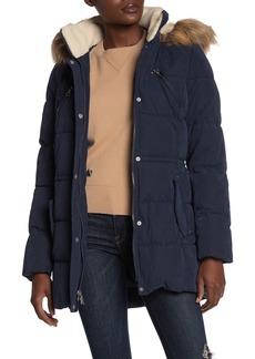 Nautica Faux Fur Trim Puffer Jacket