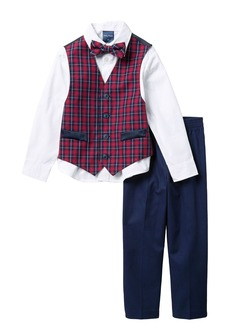 Nautica Holiday Blue Tartan Vest, Shirt & Bow Tie, & Pants (Toddler Boys)