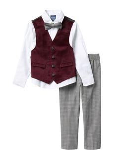 Nautica Holiday Burgundy Velvet Vest, Shirt & Bow Tie, and Pants (Little Boys)