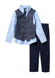 Nautica Houndstooth Deco Plaid Vest, Shirt & Stripe Tie, & Pants Set (Toddler Boys)