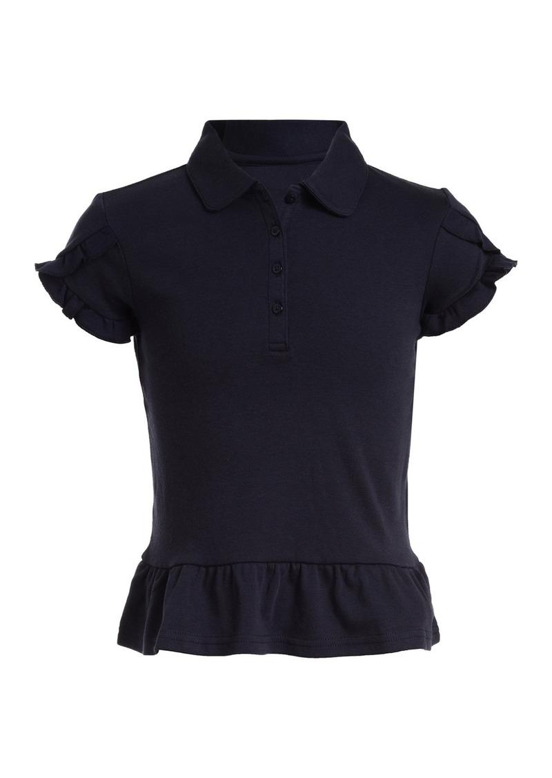 Nautica Interlock Ruffle Sleeve Uniform Polo (Big Girls)