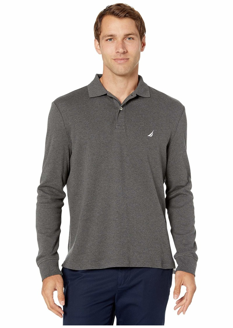 Nautica Long Sleeve Interlock Knit Polo