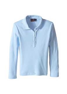 Nautica Long Sleeve Polo with Ruffle Placket (Big Kids)