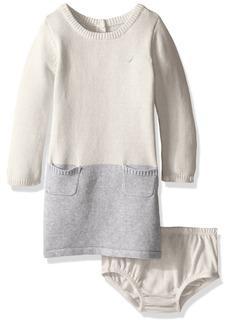 Nautica Baby Colorblock Sweater Dress Cream