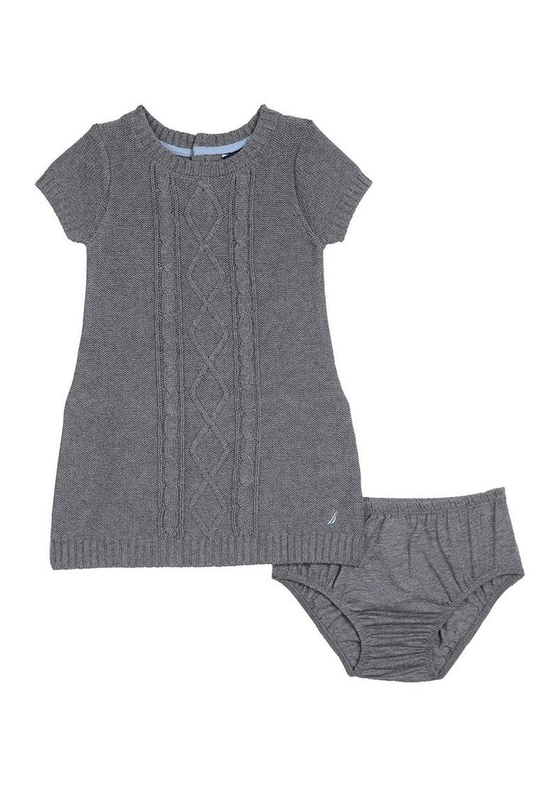 34f96f084a4 Nautica Baby Girls  Sweater Dress with Cable Detail Medium Grey Heather