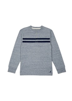 Nautica Big Boys' Long Sleeve Jersey Henley with Stripe  space Blue  X-Large (18/20)