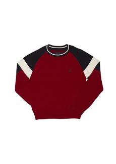 Nautica Big Boys' Raglan Color Block Crewneck Sweater