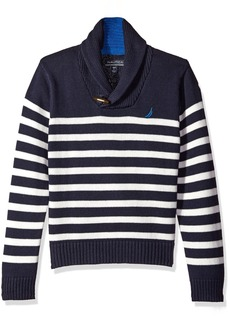 Nautica Big Boys Shawl Collar 'Rockport' Striped Sweater With Neck Toggle Closure