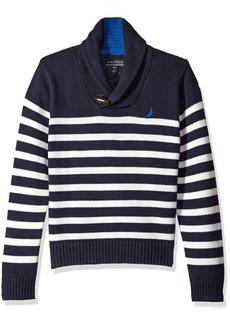 Nautica Big Boys Shawl Collar 'Rockport' Striped Sweater With Neck Toggle Closure
